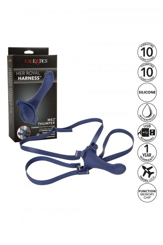 Zestaw strap-on wibrująco-pulsujący Calexotics The Her Royal Harness™ ME2™ Thumper