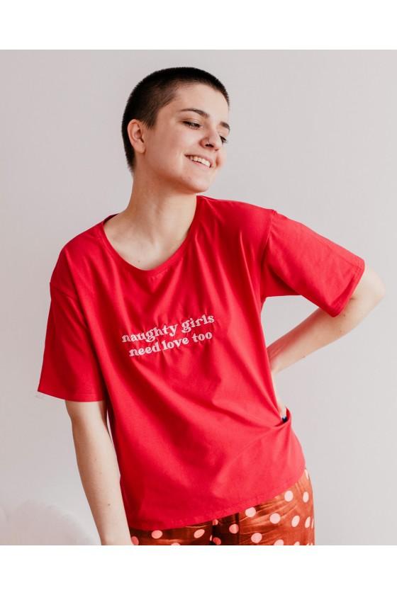 T-shirt oversize z haftem Naughty Girls Watch Porn
