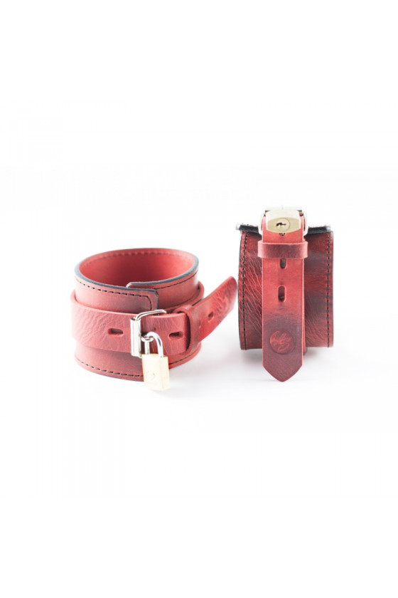 "Skórzane kajdanki na nogi ""Red Desire"" Leather Seduction"
